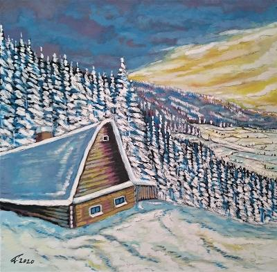 Prodám obraz tempera, autor Antonín Petlach