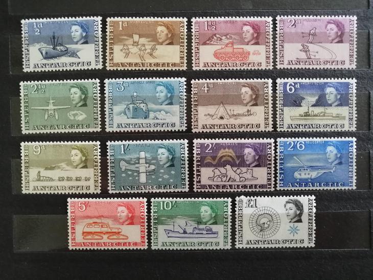 Britské Antarktické ter. 1963 - komplet první známky bez varianty 165£ - Filatelie