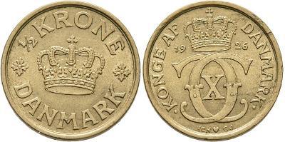 Dánsko 1/2 KRONE 1926HCN,GJ CHRISTIAN X. VZÁCNÁ XF-UNC č32220