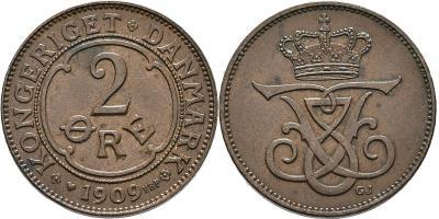 Dánsko 2 Öre 1909VBP,GJ FREDERIK VIII. XF-UNC č32269