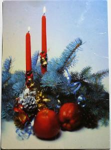 VÁNOČNÍ MOTIV / větvička, svíčky, jablka /
