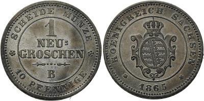 Německo Sasko Johann 1 Neugroschen 1865B RR UNC č32456