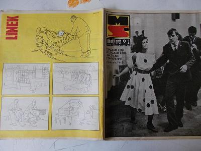 Starý časopis Mladý Svět 1989 humor Linek Šimek armáda vojna a taneční