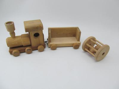 Retro stará hračka Dřevěný vláček Mašinka vagon značeno + chrastatko