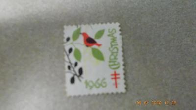 známka Christmas vánoční 1966 ptáček na větvičce