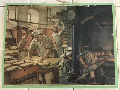 Školní plakát Pekař, cukrář , litografie výroba chleba