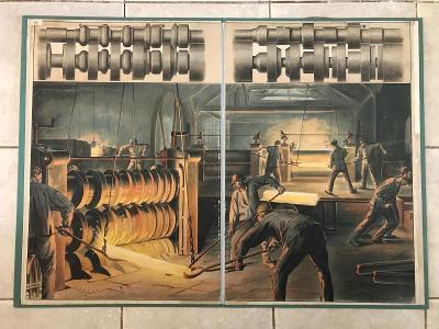 Školní plakát Válcovna , litografie