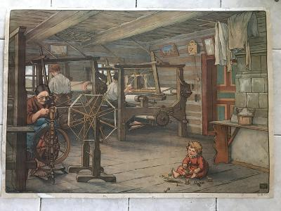 Školní plakát Tkalcovna  litografie