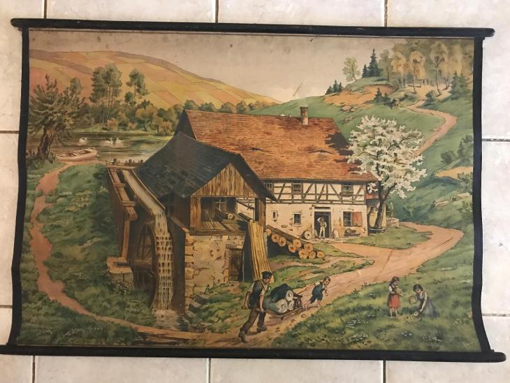 Školní plakát Vodní mlýn  litografie - Antikvariát