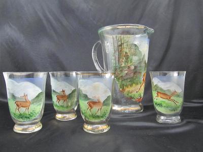Retro džbán džbánek a 4 sklenic lovecký motiv stare sklo