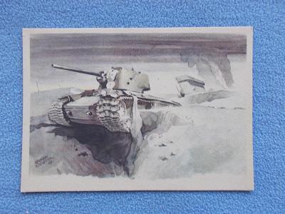 Válka Wehrmacht Ruská fronta zničený tank v boji kresba Schneider