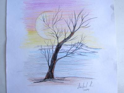 Kresba 29x39cm pastelové barvy/ malba / obraz/ obrázek / autor neznámý