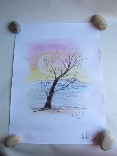 Kresba 29x39cm pastelové barvy/ malba / obraz/ obrázek / autor neznámý - Umění