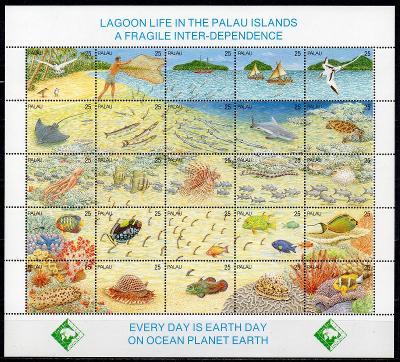 Palau-Život v laguně 1990**  Mi.370-394 / 30 €