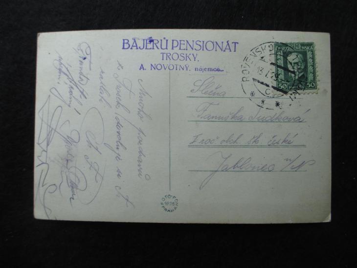 Trosky + Bajerů pensionát ( + razítko nájemce ), pr. 1929 - Pohlednice