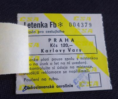 LETENKA - Československé aerolinie - Praha/Karlovy Vary - r. 1982