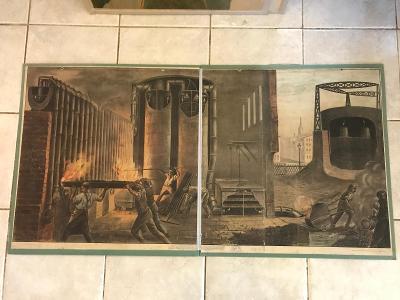 Školní plakát Výroba dřevěného uhlí, litografie 120 x 66 cm