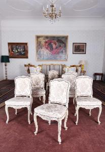 Starožitný komplet rokokových židlí 8 KS