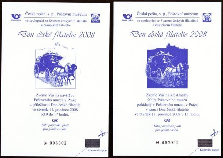POF. PPM 3, 4 - DEN ČESKÉ FILATELIE 2008, POZVÁNKY SČF + KF (S342) - Filatelie