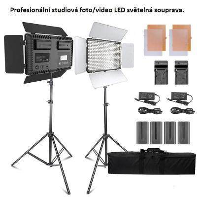 Studiová regulovatelná profesionální LED foto/video světelná souprava