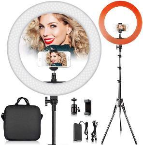 Stmívatelná prstenová fotografická LED lampa se stativem.