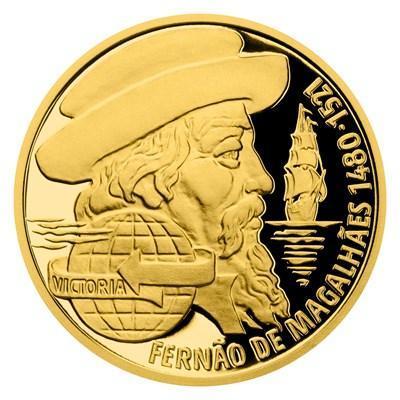 Zlatá mince Fernão de Magalhães - Na vlnách - proof