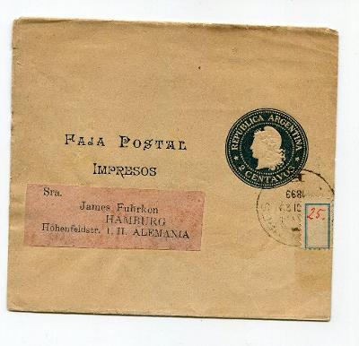 ARGENTINA - RUKÁV NA NOVINY 1899  /AR 16-5