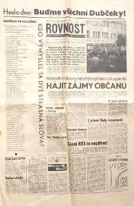 NOVINY - ROVNOST 25.1968 srpna - buďme všichni Dubčeky