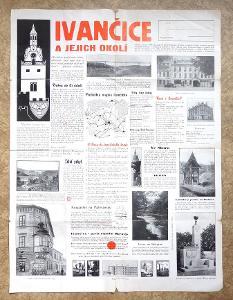 STARÝ PLAKÁT / LETÁK - IVANČICE kolem 1936 - cca 60 x 50cm