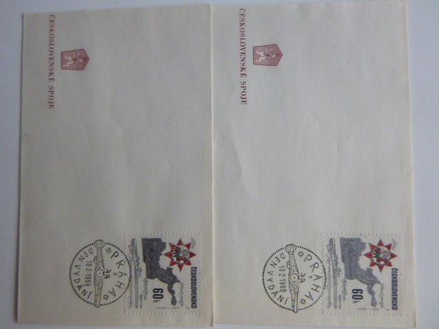 2 x razítko STŘELNÉ ZBRANĚ : PRAHA (1) (2) 18.9. 1969 PRAHA DEN VYDÁNÍ - Filatelie