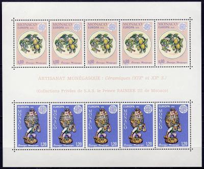 Monako 1976 **/ Mi. Block 10 , Evropa CEPT , komplet , aršík , /Z1/