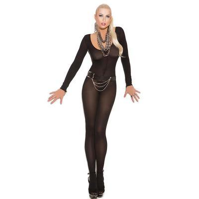Pánské a dámské nylonové punčocháče - kombinéza s rukávy,černá - 3638.
