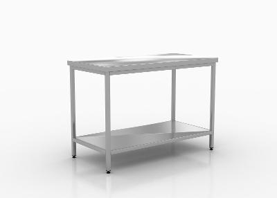 Nerezový prostorový stůl s policí 190x70x85cm