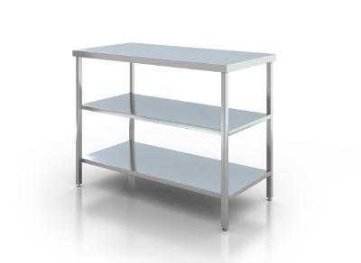 Nerezový prostorový stůl 2 police 190x70x85cm