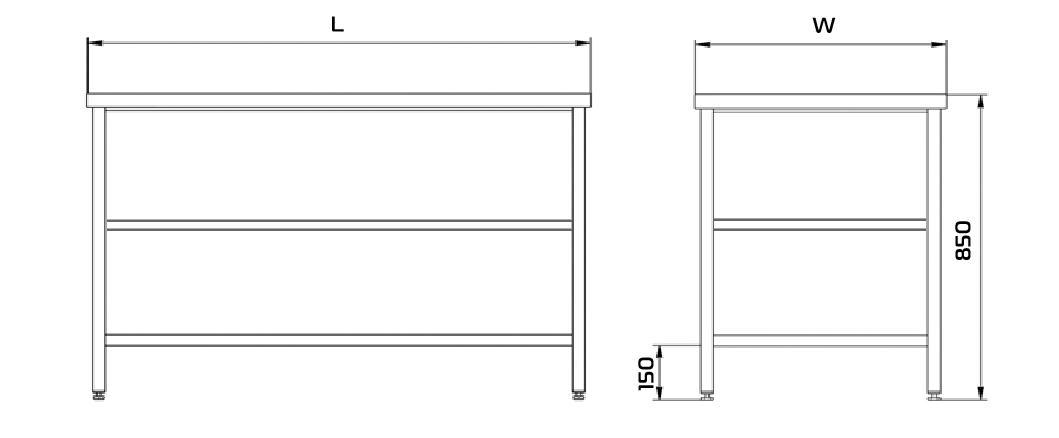 Nerezový prostorový stůl 2 police 190x70x85cm - Vybavení obchodu