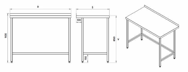 Nerezový stůl 60x60x85cm - Vybavení obchodu