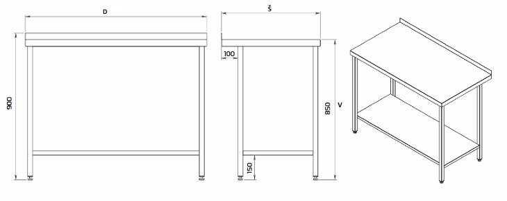 Nerezový stůl s policí 190x70x85cm - Vybavení obchodu