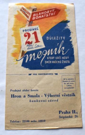 Objednací list Třídní loterie Protektorát Čechy a Morava, nevyplněný