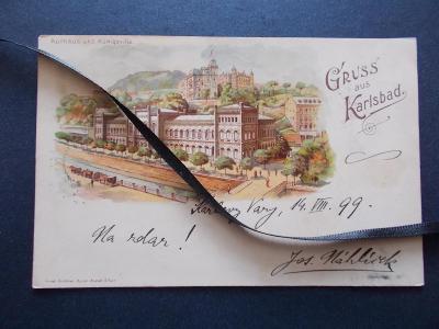 Karlovy Vary  Karlsbad  litografie koláž razítko nádraží DA  1899