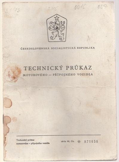 Technický průkaz Škoda Favorit
