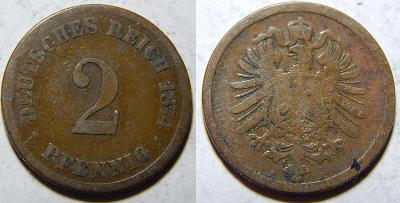 Německo Císařství 2 Pfennig 1874A F č35524
