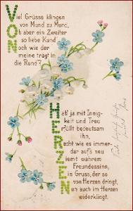 Květiny * pomněnky, láska, báseň, tlačená, gratulační * M1737
