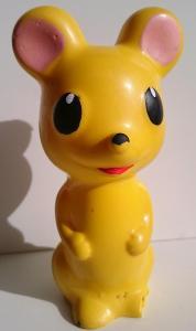 RETRO žlutá gumová pískací hračka, 16cm