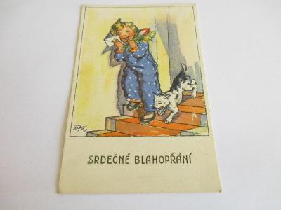 Starožitná pohlednice - M.F. KVĚCHOVÁ - SRDEČNÉ BLAHOPŘÁNÍ