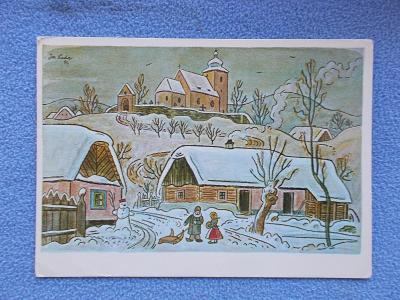 Umělecká pohlednice Josef Lada malíř vánoce   sněhulák sáně děti