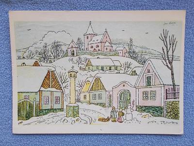 Umělecká pohlednice Josef Lada malíř vánoce sáně zima