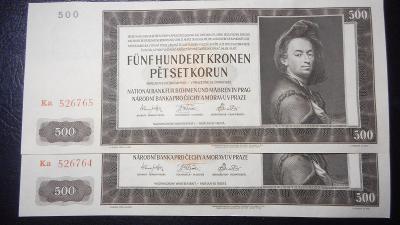 500 korun 1942 II.vydani,serie Ka, top stav UNC!!Postupka!!R