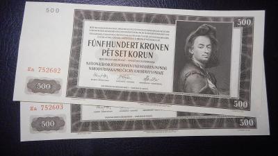 500 korun 1942 II.vydani,serie Ea, top stav UNC!!Postupka!!R