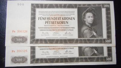 500 korun 1942 II.vydani,serie Fa, top stav UNC!!Postupka!!R