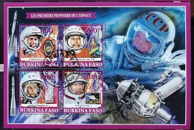 Burkina Faso 2019 - CTO aršík, J. Gagarin, průzkum vesmíru, kosmos